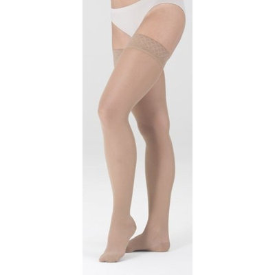 Mediven Sheer and Soft Thigh High w/ Silicone Lace Top Band, Petite, Closed Toe, 15-20 mmHg, II, Natural, 1/Pair, MDV42702