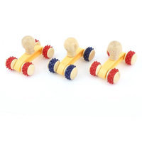 3 Pcs Wooden 4 Rolling Wheels Design Body Roller Massager Tool Red Blue