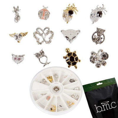 Bundle Monster BMC 12pc Rhinestones Gold Silver Colored Nail Art Stud Decoration Set - Animals