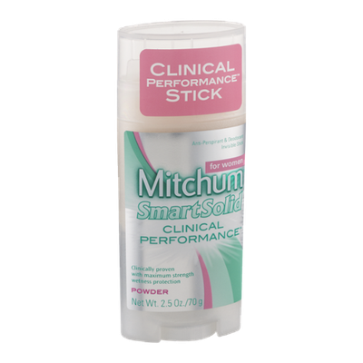 Mitchum for Women SmartSolid Clinical Performance Anti-Perspirant & Deodorant Invisible Stick Powder