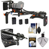 Vidpro MR-400 Motorized Focus & Zoom Shoulder Rig for Digital SLR Cameras with XM-55 13-Piece Professional Video & Broadcast Microphone Set + Accessory Kit