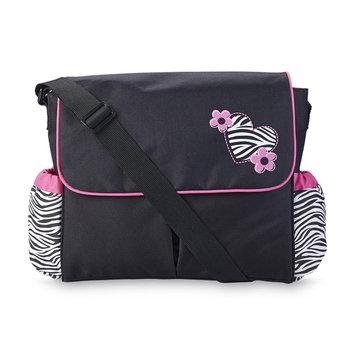 Tender Kisses Fashion Messenger Diaper Bag Zebra Print - Rose Art