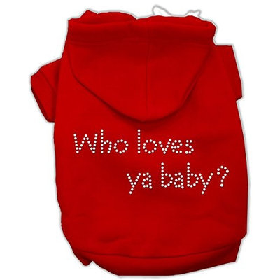 Mirage Pet Products 5482 XLRD Who loves ya baby? Hoodies Red XL 16