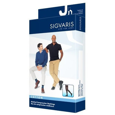 Sigvaris Men's Cotton Thigh High with Grip Top 30-40mmHg Closed Toe Long Length, Medium Long, Crispa