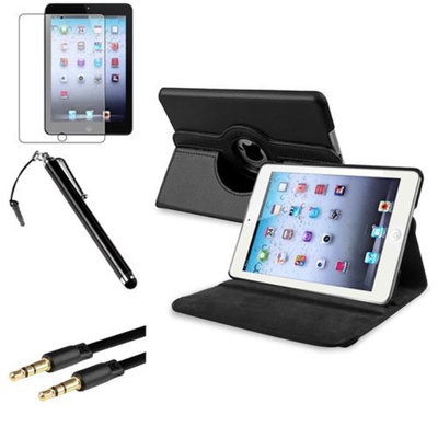 Insten iPad Mini 3/2/1 Case, by INSTEN Black 360 Leather Case Cover+Matte Protector+Cable for iPad Mini 3 2 1