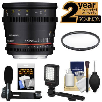 Rokinon 50mm T/1.5 DS Cine Lens (for Video DSLR Nikon Cameras) with 2 Year Ex. Warranty + UV Filter + Mic + LED Light + Accessory Kit