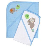 Gerber Newborn Boys' 2 Pack Hooded Towels - Blue/White