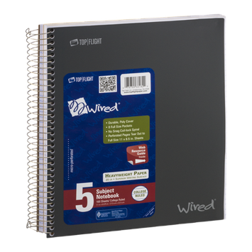 Top Flight Wired 5 Subject Notebook 160 Sheets College Ruled