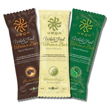 Vega Whole Food Vibrance Bar Tri Pak (Chocolate Decadence + Wholesome Original + Green Synergy) - Quick Convenient Snack Full of Protein and Fiber
