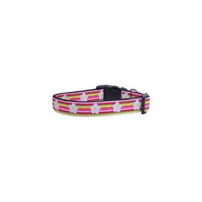 Ahi Striped Daisy Ribbon Dog Collars Large