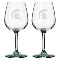 NCAA Michigan State Spartans Boelter Brands 2 Pack Satin Etch Wine Glass -