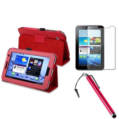 Insten INSTEN Folio PU Leather Case Cover Skin Stand For Samsung Galaxy Tab 2 7.0 Red