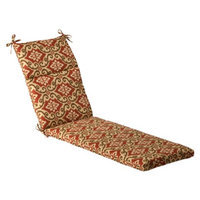 Pillow Perfect Outdoor Chaise Lounge Cushion - Tan/Orange Geometric