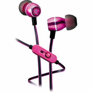 Sdi Techonlogies Inc. Noise Isolating Metal Earphones w/ In-line Mic, Remote and Pouch - Pink