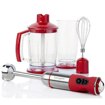 Bon Appetit BAIBC010R Red Immersion Blender with Chopper Bowl