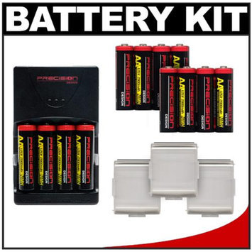 Precision Design (12) 2900 AA Batteries & Rapid Charger with Battery Cases Kit