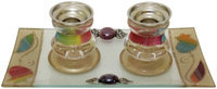 Artsy Casa 5th Ave Candle Stick w/ Tray Small Applique - Rainbow - Candle Stick 2.5 H? Tray 8W x 4H