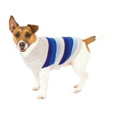 Fashion Pet Blue Best in Stripe Dog Sweater Large