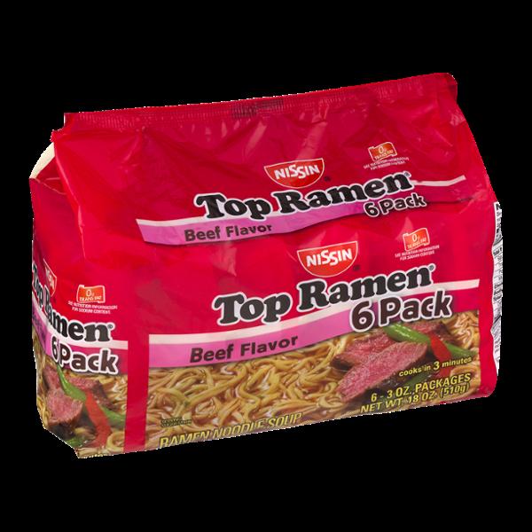 Nissin Top Ramen Noodle Soup Beef Flavor - 6 PK