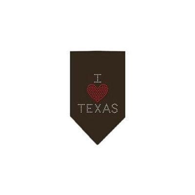 Ahi I Heart Texas Rhinestone Bandana Cocoa Small