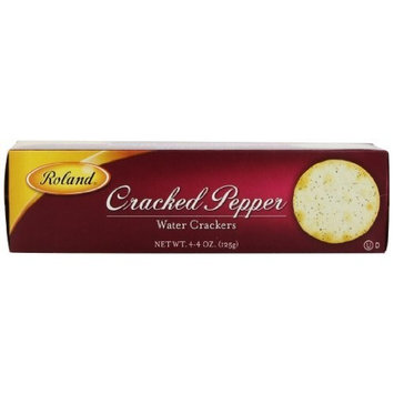 Roland Cracked Pepper Water Crackers, 4.4-Ounce (Pack of 12)