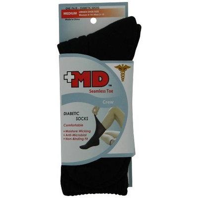 MD USA Wave-In Mesh Diabetic Seamless Crew Socks Black, Medium, (Pack of 2)
