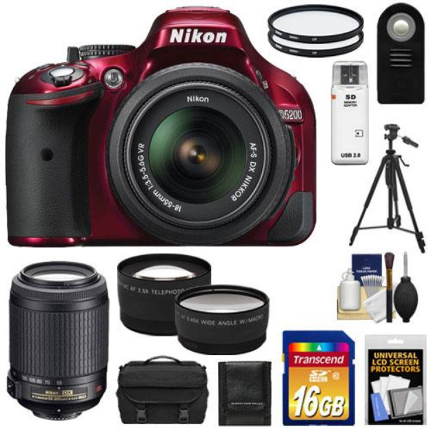 Nikon D5200 Digital SLR Camera & 18-55mm G VR DX AF-S Zoom Lens (Red) with  55-200mm VR Lens + 16GB Card + Case + Filters + Tele/Wide Lenses + Tripod +