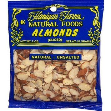 Flanigan Farms Natural Foods Almonds, Sliced, Unsalted 2oz (6 Pack)
