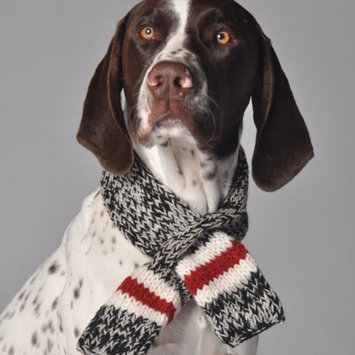 Chilly Dog Boyfriend Knit Dog Scarf L, BLK/WHT