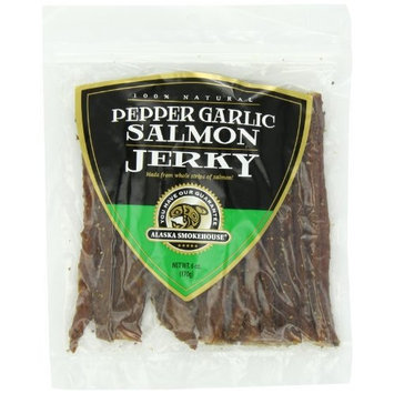 Alaska Smokehouse Pepper Garlic Salmon Jerky, 6 -Ounce Bag
