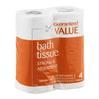 Guaranteed Value Bath Tissue Strong & Absorbent - 4 CT