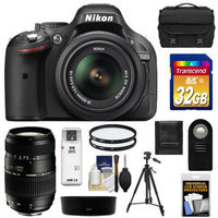 Nikon D5200 Digital SLR Camera & 18-55mm G VR DX AF-S Zoom Lens (Black) with Tamron 70-300mm Lens + 32GB Card + Battery + Case + Filters + Tripod + Accessory Kit
