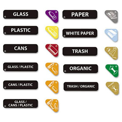 Rubbermaid Commercial RCP1792975 Assorted Recycle Label Kit 44 Labels
