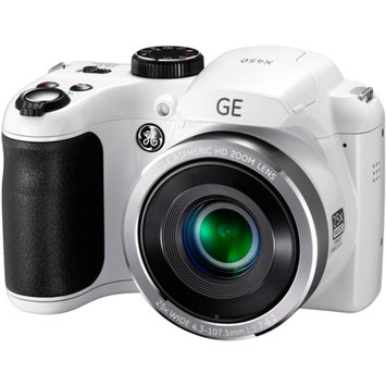 GE White X450 Power PRO Digital Camera with 16 Megapixels, 25x Optical Zoom, 42mm Wide-Angle Lens