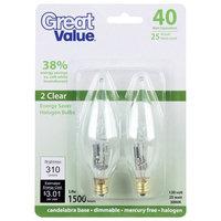 Great Value 40W Equivalent (25W) Halogen Flame Tip Candelabra Base Light Bulb, Clear, 2pk