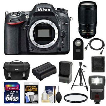 Nikon D7100 Digital SLR Camera Body with 70-300mm Lens + 64GB Card + Battery & Charger + Case + Flash + Filter + Tripod + Accessory Kit