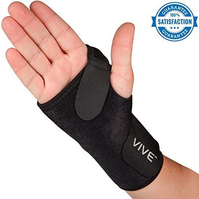 Wrist Brace by VIVE - Best Universal Support for Carpal Tunnel, Tendonitis, Wrist Pain & Sports Injuries - Removable Splint - One Size Fits Most - Satisfaction Guarantee