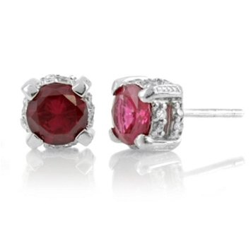 Emitations Anna's Fancy Round Cut Stud Earrings Wedding Jewelry