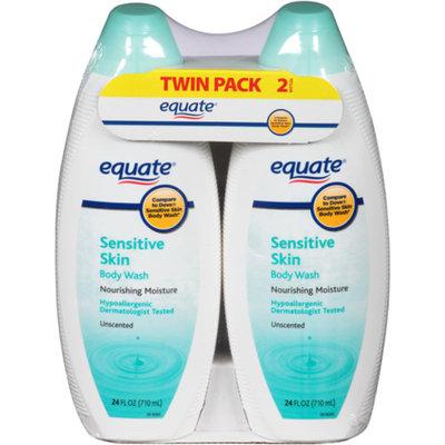 Equate Sensitive Skin Unscented Body Wash, 24 fl oz, (Pack of 2)