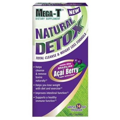 Mega-T Natural Detox Total Cleanse & Green Tea Weight Loss Formula, 45-Caplets