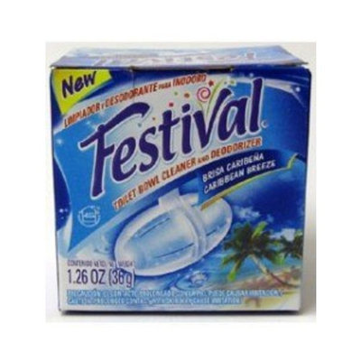 Festival Toilet Bowl Cleaner and Deoderizer; Caribbean Breeze (Pack of 4)