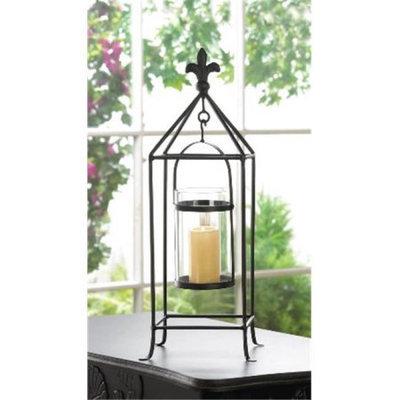 Zingz & Thingz 57071108 Black Fleur-De-Lis Framed Candle Stand
