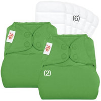 Flip Day Pack: 2 One-Size Snap Closure Diaper Covers & 6 One-Size Stay-Dry Inserts - Sassy