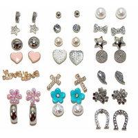 Flower, Heart and Stud Earrings, Set of 21