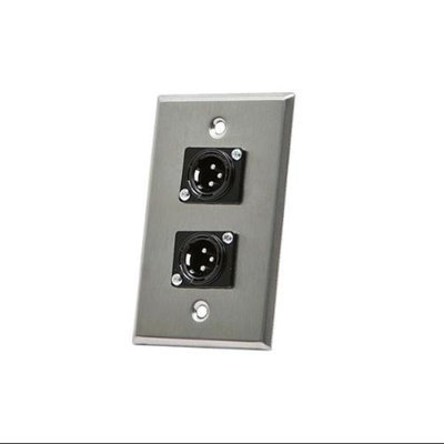 Monoprice XLR Male 3 Pin Two Port Zinc Alloy Wall Plate