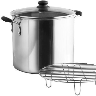 IMUSA 8 Qt Stainless Steel Steamer with Glass Lid