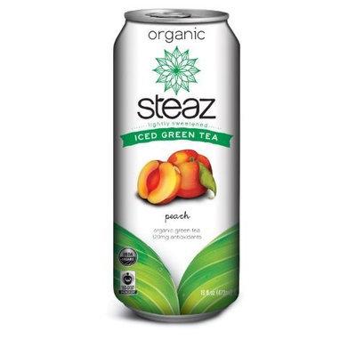Steaz Iced Tea Can, Peach Green, Gluten Free, 16-ounces (Pack of12)