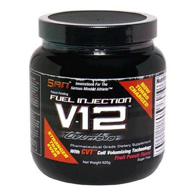 San Nutrition SAN Fuel Injection V12 Turbo Pharmaceutical Grade Dietary Supplement with Cell Volumizing Technology, Fruit Punch, 625 g