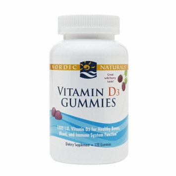 Nordic Naturals Vitamin D3 1000IU Gummies, Wild Berry, 120 ea