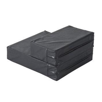 Pawhut 2 Step Leather Folding Pet Stairs - Black